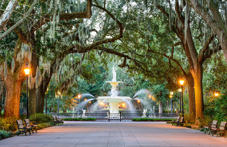 Forsyth Park fountain i Savannah, Georiga